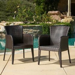 Seawall Outdoor Wicker Dining Chair Set Of 2