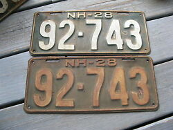 1928 28 New Hampshire Nh License Plate Pair Set Tag. Nice Ones 92-743