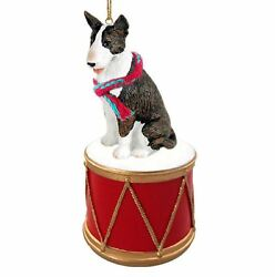 BULL TERRIER BRINDLE w DRUM DOG CHRISTMAS ORNAMENT HOLIDAY Figurine Scarf gift