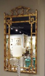 Gold Iron Bamboo Chippendale Wall Mirror Pagoda Asian Hollywood Regency 42h