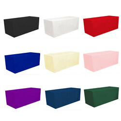 Fitted Polyester Tablecloth Rectangular Table Cover Banquet Trade Show