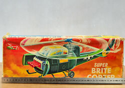 Antique Plast Toy S.h Horikawa Super Brite Us Army Attack Helicopter Airplane