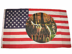 3x5 Usa Indian Three Wolf Pack Native American Premium Flag 3and039x5and039 Banner Grommet