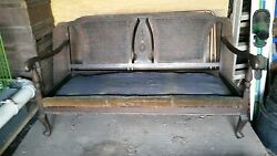Late 1800's Cane Back Love Seat, Rocker And Chair