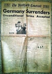 Hartford Courant - May 7, 1945 - Germany Surrenders-unconditional Terms Accepted