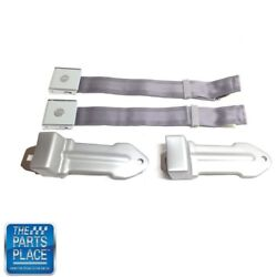 64-66 Chevrolet Cars Bowtie Lift Latch Style Front Seat Belts Silver - Pair