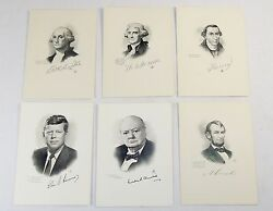Kennedy Washington Churchill And Presidents Vintage 6 Collectibles Cards 5x 7