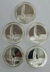 1945-1970 United Nations Twenty-fifth Anniversary. Set Five Silver Medal .925.