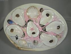 Rare Union Porcelain Works 6 Wells Hand Painted Light Pink Oyster Plate 19th C.