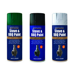 Rust-oleum High Temperature Stove And Bbq Aerosol Spray Paint Black Green Silver