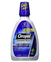 Orajel Antiseptic Mouth Sore Rinse 16 oz (Pack of 8)
