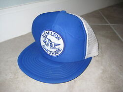 Vintage Hamilton Hardware Store Tools Blue Patch Trucker Mesh Hat Ball Cap Used