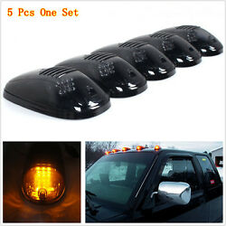 5pcs Smoked Lens Suv Truck Off Road Cab Roof Top Amber Led Marker Running Lights