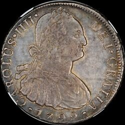 Ngc Au55 Lovely Original Colonial Ngc 8 Reale 1799 Lima Ij Peru Old World Toned
