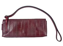 GUCCI WineBurgundy RED Eel SkinLeather CLUTCH Handbag Bag Purse 100% Authentic