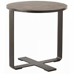 24 Round Accent Table Modern Iron Glass Marble Black Waxed Clear