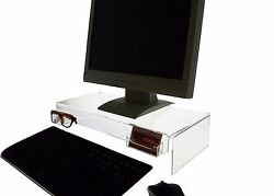 Lot Of 4 Computer Monitor Riser Stand With Sunglasses And Business Card Holder