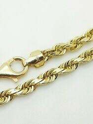 14k Solid Yellow Gold Diamond Cut Twist Rope Necklace Pendant Chain 4.0mm 20-30