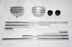Aluminum Finned 9.5 Mm Wire Looms + Breather Caps Street Rat Rod Sbc Chevy Loom