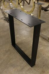 27 H Set Of Base Legs Black Iron Mounting Plate Dining Table Slab Wood Concrete