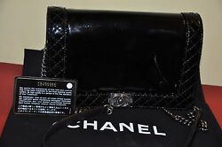Authentic CHANEL Patent Small Boy Reverso Flap Black - Pre-Owned