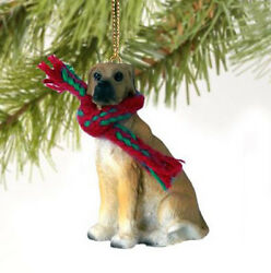 GREAT DANE FAWN UNCROPPED DOG CHRISTMAS ORNAMENT HOLIDAY Figurine Scarf
