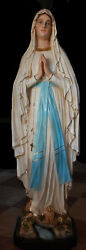 Our Lady Of Lourdes Cm. 127 4,16 Feet Fiberglass Statue With Eyes Of Glass Blue