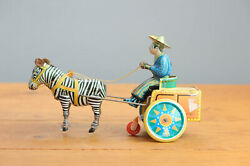 Antique Red China Tin Toy 1980 Lehman Galop Copy Donkey Cart Shanghai Me Ms Old