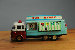 Antique Red China Tin Toy Mf172 Toy Store Truck Working Friction