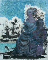 Gary P. Slipper R.c.a. - And039mother+daughter...and039 - Mixed Media Drawing - Circa 1984