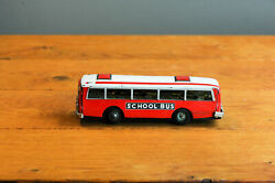 Antique Tin Toy Red China School Bus Mf 887 Friction Works