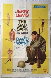 JERRY LEWIS Signed The Sad Sack 1958 27x41 Original Poster PSADNA COA Proof Pic