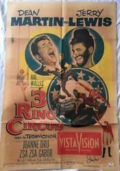 JERRY LEWIS Signed 3 Ring Circus 1954 27x41 Original Poster PSADNA COA Proof