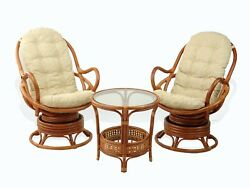 Lounge Java Set Of 2 Swivel Rocking Chairs Wicker Rattan And Coffee Table,cognac