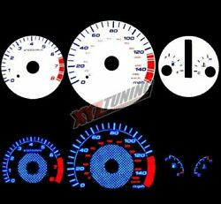 BLUE Reverse El Indiglo Glow White Gauge Dash Face For 98-02 Accord 3.0L V6 AT