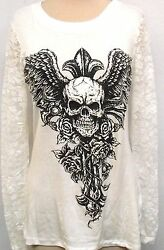 Tattoo Cross Juniors Rhinestone Skull Lace Back Slashed goth punk nwt hardy whte $19.99