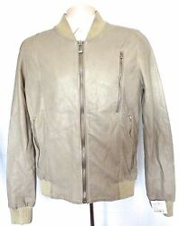 Nwt 1260 Silent Damir Doma Mens Tan Distressed Leather Bomber Jacket Xs S Auth