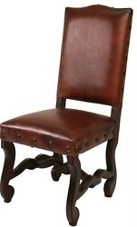 Set Of Four Leather Chair Wood/leather High Back Carved Chair