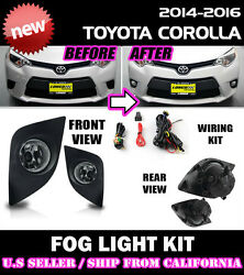 For Toyota 14 15 16 Corolla Fog Light Driving Lamp Kit W/ Switch Wiring Clear