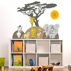 Wall Tattoo Africa Zebra Giraffe Elephant Safari Animals Wall Stickers