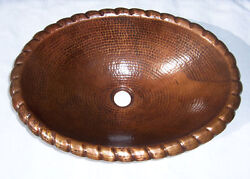 Mexican Copper Bathroom Sink Hand Hammered Oval Drop In 72