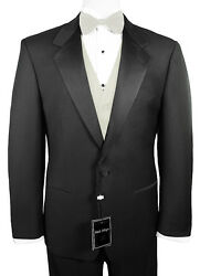 Sizes 35-64 Long. 6-piece Tuxedo Package With Flat Front Pants And Ivory Vest