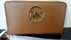 NWT MICHAEL Jet Set Travel Coin Multifunc Wallet Phone Case Luggage Gold Perfect $55.00