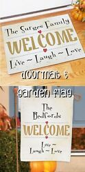 LIVE LAUGH LOVE Welcome Custom Personalized Doormat & Garden Flag Gift Set