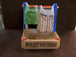 Made In Japan Porcelain Luster Ashtray-pants Hanging On Clothesline-1950and039s
