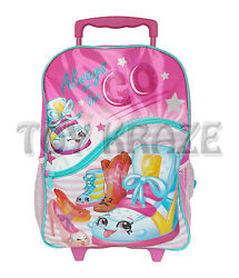 SHOPKINS ROLLING BACKPACK PINK ALWAYS ON THE GO LARGE GIRLS ROLLER BAG 16quot; NWT $28.49