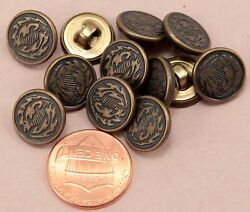 144 Pcs 1 Gross Small Antiqued Brass Tone Metal Buttons 1/2 Almost 13mm 6312