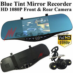 New Blue Tint 1080P HD Front/Back Up Camera Recorder Rearview Mirror #m19 Ford