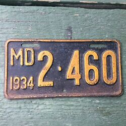 1934 Maryland MD Motorcycle License plate TAG