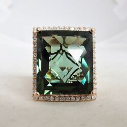 Big 14k Rose Gold Ring With 19.7mm Green Amethyst And Diamonds 13.2g, Size 6.5
